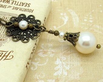 Victorian Necklace with Cream Swarovski Pearls and Brass Filigree