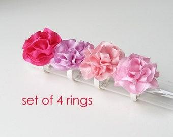 Bridesmaid's gifts, Ruffled silk rings, Set of 4 rings, Wedding party accessories, Silk ribbon rings, Made to order bridesmaid's rings