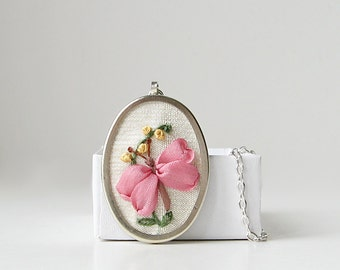 Embroidered pink butterfly necklace, silk ribbon embroidery jewelry, oval pendant, insect necklace, lepidoptera jewelry