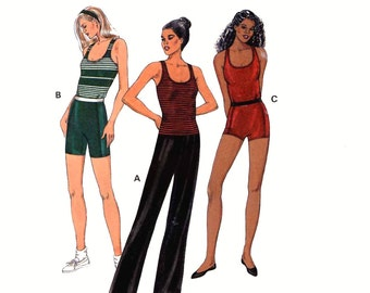 90s Athletic shorts top or dance pants sewing pattern Yoga Dance or Exercise wear Kwik Sew 2723 pattern Size XS to XL