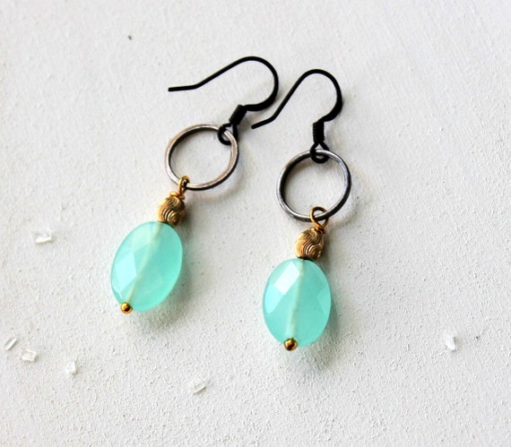 Seafoam Earrings, Sea Blue Green Quartz, Caribbean Water, Gift Earrings, Black Hoop Earring, Seafoam Black Gold, Ocean Blue, Drop Earrings