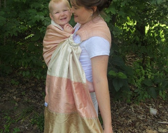 Silk Ring Sling Baby Carrier - Double Layer Dupioni Triple Colorway w pocket - READY to SHIP - DVD included