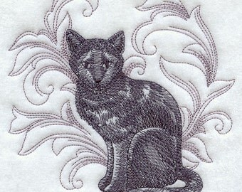 Adult Sweatshirt - Embroidered with a  Baroque Cat  -  U Pic Size and Collar