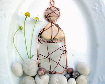 Seaglass Shell and Beach Pottery Tall House Suncatcher Ornament
