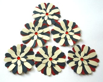 Hand Punched Paper Flower Scrapbooking Embellishments, Red, Cream and Blue with Red Center Gems, Card Making