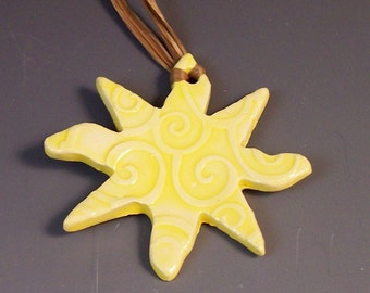 Yellow Sun Ornament /Swirly Sun Ornament