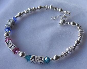 Family Sterling Silver and Swarovski Crystal Adult  Bracelet, Mother Bracelet, Nana, Grandmother,Name Bracelet, Birthstone