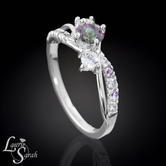 Mystic Topaz Engagement Ring With White By LaurieSarahDesigns