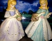 Flower Girls Perfume Sachet Bisque Porcelain Vintage Wedding Gifts