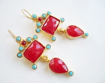 Red Glass and Turquoise beads gold Leaves earring