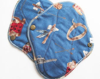 Set of 2 Cloth Mama Pad Pantyliner 8 inch - Cowboy Print FREE Shipping