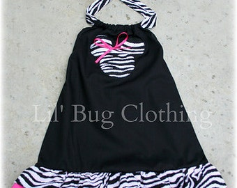 Custom Boutique Clothing Disney Minnie Mouse girls Zebra Pink A Line Halter Dress