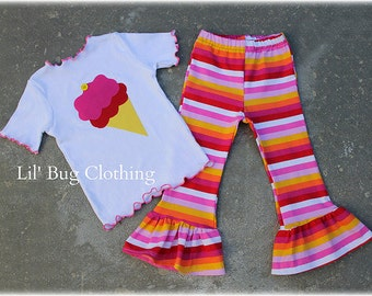 Custom Boutique Clothing Birthday Ice Cream Stripes Comfy Knit Tee And Pant Red Orange Hot Pink