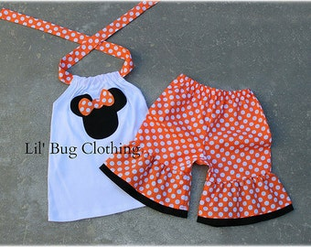 Custom Boutique Clothing Girls  Minnie Mouse Halloween Short and Halter Top