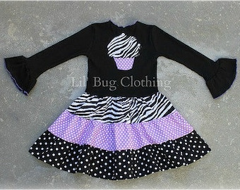 Custom Boutique Clothing Tiered Cupcake Black Lavender Dots and Zebra  Fall Birthday Dress