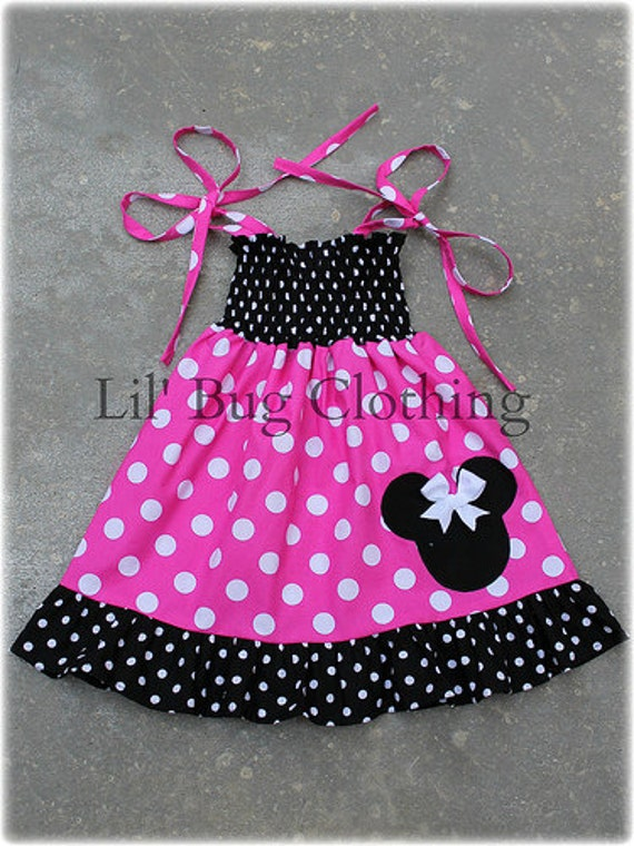 Minnie Mouse Pink Black and White Polka Dot Smocked Dress Custom Boutique Girl.