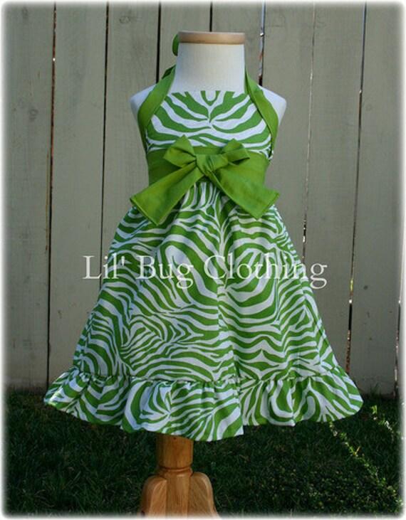 Custom Boutique Clothing Lime Zebra Summer Jumper Pageant Halter Dress