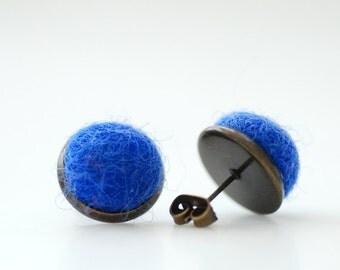 Stud Earrings, Felted Wool Earrings, Cobalt Blue Studs, Fibre Jewelry, Post Earrings, Dark Blue Earrings, Antiqued Brass Studs