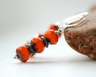 Orange Glass Earrings, Tangerine Glass and Oxidized Sterling Silver, Simple Dangle Earrings, Autumn Jewelry, Halloween, Glass Jewelry