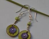 Green and Purple Torch Fired Enamel Earrings