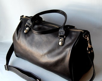 NEW - SP14-1 classic doc bag in black leather - adjustable cross body strap