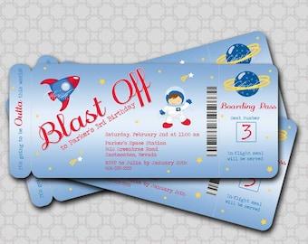 Astronaut  Spaceman Birthday Invitation - printable party digital invite - boarding pass