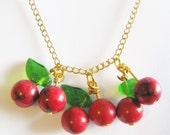 cherry necklace - gold cherry necklace- gold necklace - rockabilly - vintage tattoo - sailor jerry - polka dot