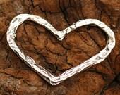 Big Open Heart Pendant in Sterling Silver -50