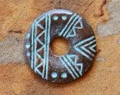 2 Greek Native Tribal Etched Disks 20mm - Green Patina