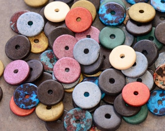 Greek Ceramic Beads 16mm Washer Disk (20) - Earthy Assortment