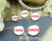 10pcs Silver 12MM / 14mm / 16mm / 18mm / 20mm Cameo Setting Charm / Connector 2 Loop