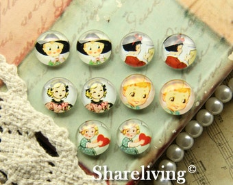 10pcs 12mm Mixed Handmade Photo Glass Cabochon / Wooden Cabochon  -- MCH003A