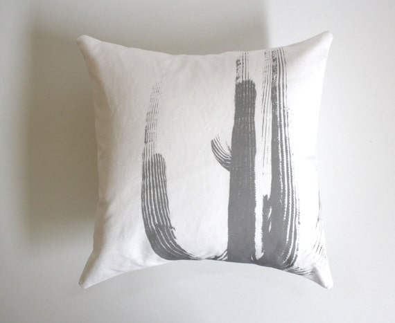 Modern Southwest Pillow : HALF PRICE Desert Cactus Throw Pillow Black and by NestaHome