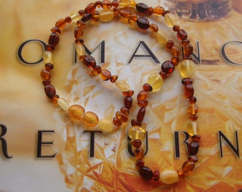 Necklace, Beaded Necklace, Handmade Necklace, Artisan Necklace, Natural Baltic Amber Stretch Necklace