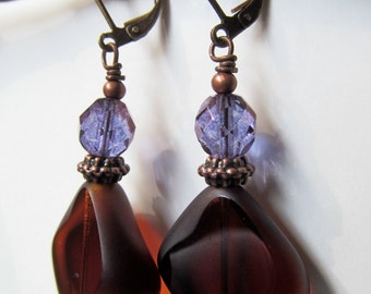 SALE Purple and Brown Topaz Beaded Antiqued Bronze Leverback Earrings