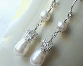 Teardrop Pearl and Crystal Long Drop Earrings, Rhinestone Fire Ball and Pearl Earrings in White or Ivory, Bridal  Wedding Jewelry