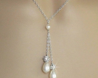 Bridesmaid Pearl Necklace - Pearl and Crystal Rhinestone Fireball Double Pearl Drop Wedding Necklace - Bridesmaid Jewelry by JaniceMarie