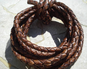 Distressed Brown Round Leather Braided Cord 4mm, Antique Brown Cording, Qty 1 yard Bolo Round Cord, Genuine Leather Cords
