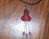 Flora -- Red and Pink Lucite and Glass Flower Necklace