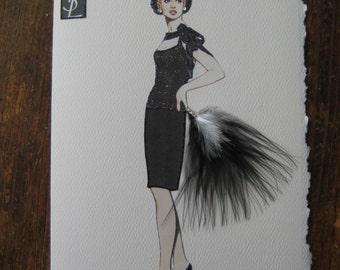 Yves St. Laurent 1961 Black crepe Evening Dress fashion illustration card