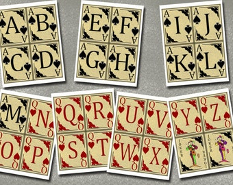"""Alphabet/Letters Pennants/Flags-4""""X5"""" -PLaYING CaRDS -Set of 7 Printable Collage Sheets Digital JPG Files-Create Your Own Banner"""