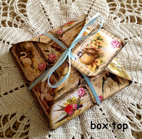 Decorative Boxes Templates : Gift favor decorative box template with tags vintage