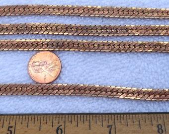 4 Vintage Brass Bracelets, 7 Inch, 6mm Width, Textured Design