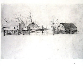 Andrew Wyeth - Mill Buildings - Black and White  - 11 x 8.5 - 1963 Vintage Book Page Illustration