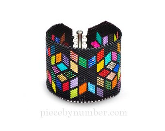 Delica Diamonds geometric beadwork bracelet, contemporary peyote stitched cuff bracelet, multicolor seed beads, star quilt pattern,