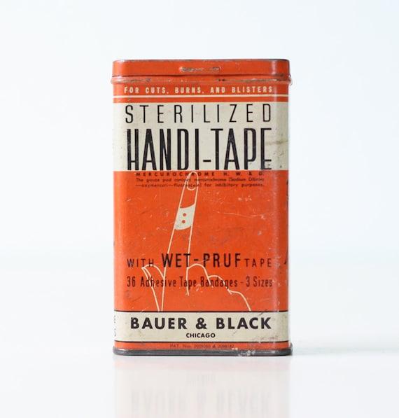 Vintage Orange Tin - Sterilized Handi-Tape by Bauer & Black