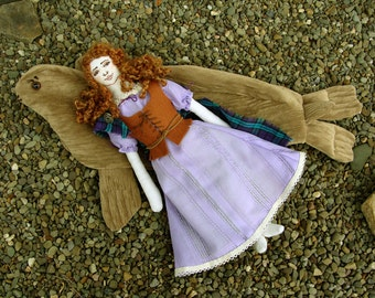 Made to Order Selkie girl mythical seal legend art doll Scotland Ireland Celtic sea soft sculpture art doll