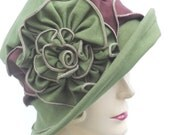 Organic Flapper Hat - Hemp Jersey Cloche - Packable For Travel  - Moss and Chocolate Brown - Charlotte