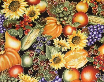 Fall pumpkin harvest fabric - 1 yard - more available