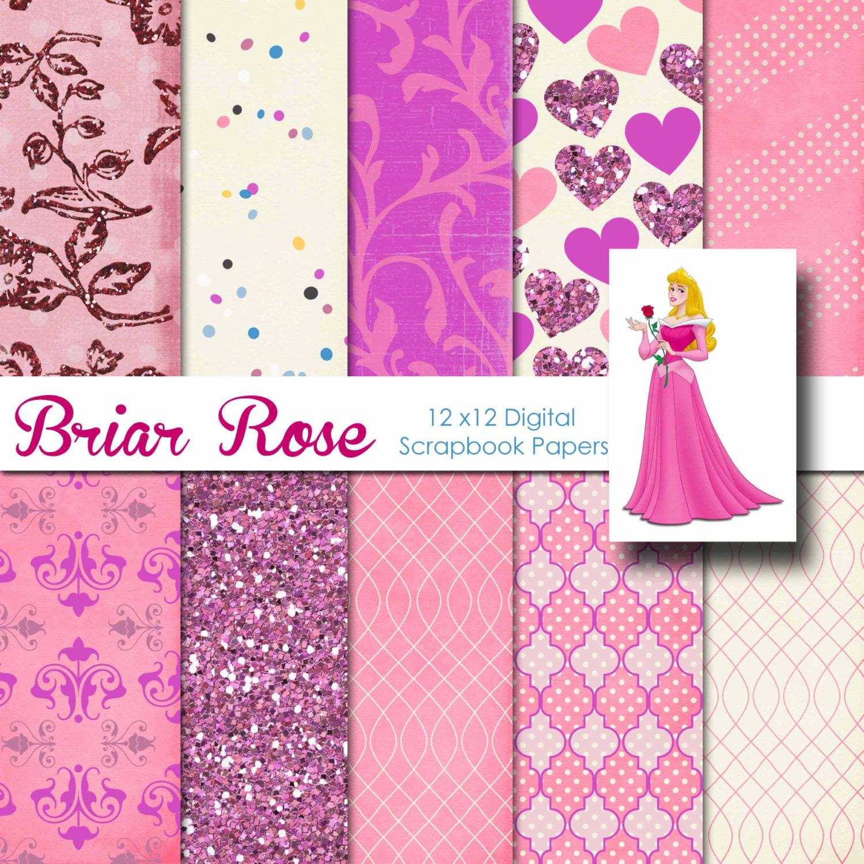 Scrapbook paper disney - Disney Sleeping Beauty Aurora Inspired 12x12 Digital Paper Pack For Digital Scrapbooking Party Supplies Etc Instant Download